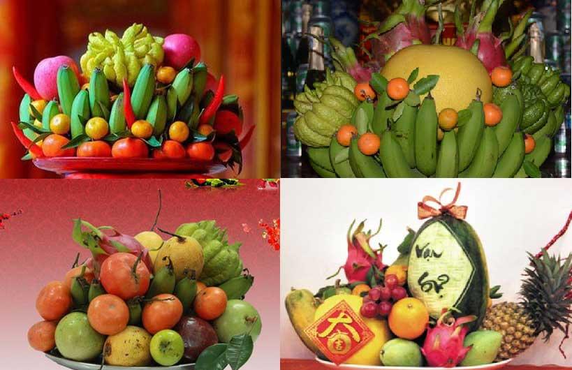 Mâm ngũ quả đầy màu sắc trên bàn thờ người Việt